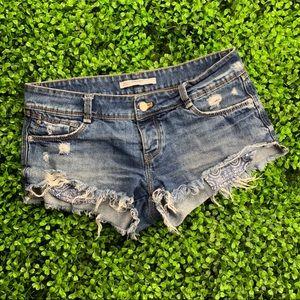 Zara Trafaluc Distressed Shorts size 4 B77
